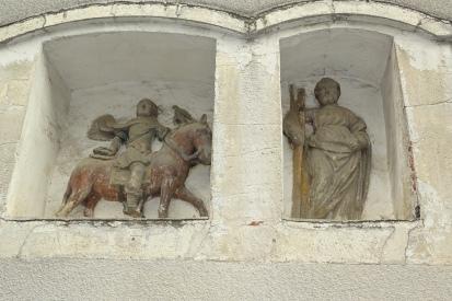 Der Heilige Theobaldus - am Fachwerkhaus...und an der alten Pfarrbezirksgrenze.
